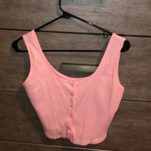 Tops - Pink button up crop top tank